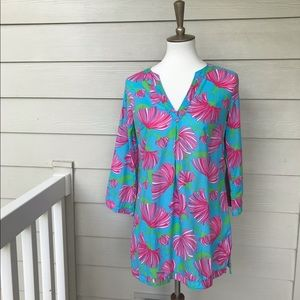 Lilly Pulitzer Turquoise Kissue Caftan Coverup